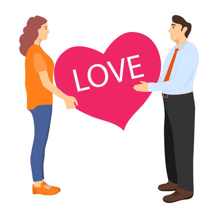 Man and woman hold a heart in their hands. Love poster for Valentines Day. Mutual love. Vector illustration. Vector.