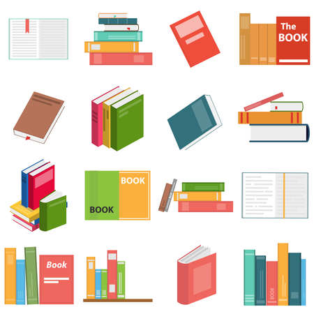 Books, set of books. Books in flat design and in isometric. Vector illustration of a textbook. Vector. Illustration