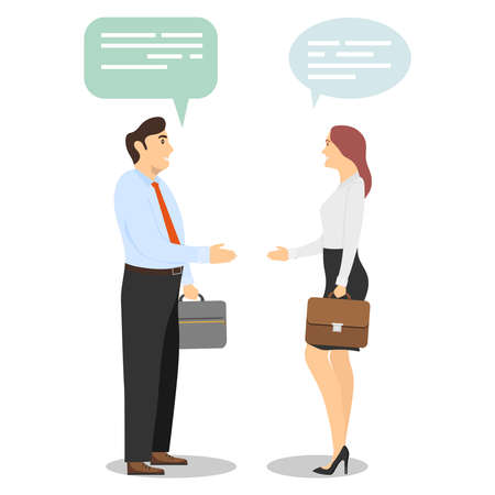 Greetings, handshake. A man and a woman greet each other. Vector illustration of a business woman and a business man making a deal. Successful deal. Vector.