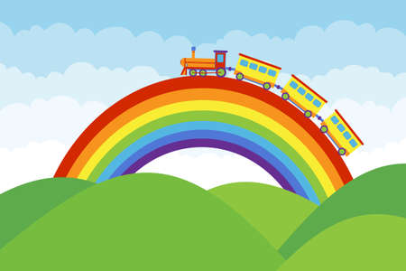 Children's train rides on a rainbow. Children's toy train rides on a cartoon rainbow. Vector, cartoon illustration of a train toy. Vector.