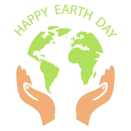 Earth Day. Planet Earth with Happy Earth Day . Vector illustration. Vector.
