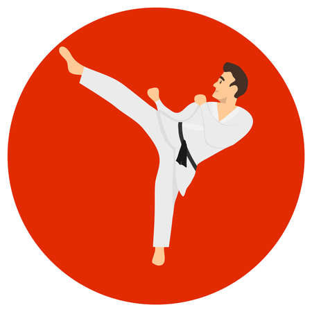 Male karate kicks. A man in a white kimono with a black belt on a red background. Vector illustration. Vector.