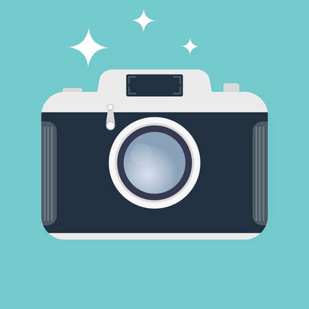 Retro camera. Icon of an old camera isolated on a green background. Vector illustration of a camera. Vector.