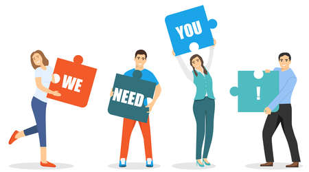 People are holding a puzzle with the inscription we need you. Teamwork, cooperation, mutual assistance, collaboration, search for new employees. Vector illustration of teamwork. Vector.