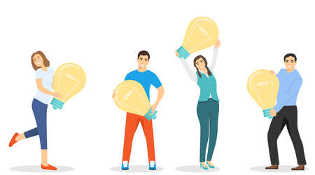 People hold a light bulb with the inscription idea. New idea, new technology, startup. Starting a startup. Vector illustration of a new business. Vector. Ilustracja