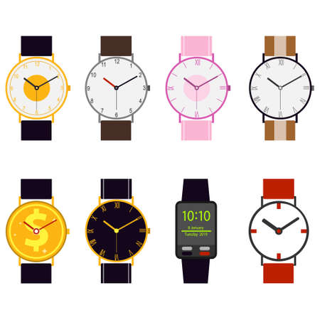 Wrist Watch. A set of mechanical and electronic watches. Vector illustration of a wristwatch in the form of a gold coin. Vector. Illusztráció