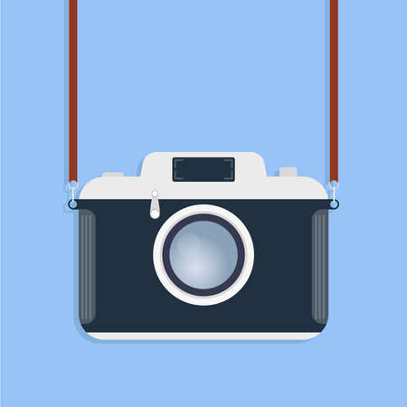 Retro camera. Old camera with strap isolated on a blue background. Vector illustration of a camera. Vector. Banque d'images - 143568728