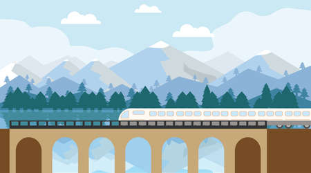 A modern high-speed train crosses an old bridge. A modern train travels by rail to the lobby of a beautiful mountain landscape. Vector illustration of train travel. Vector.
