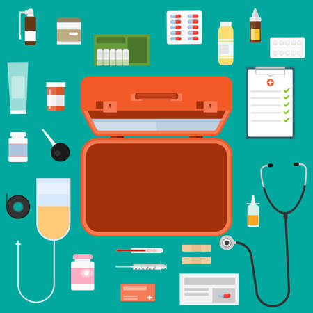 Doctor suitcase. An open doctor's suitcase with medical supplies. Vector illustration. Vector.