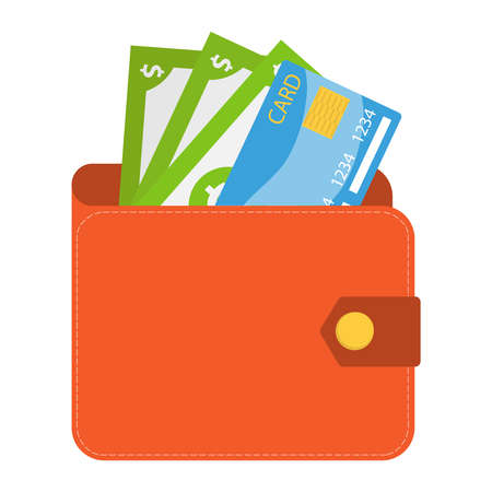 Wallet, wallet with money and a credit card. Vector illustration of a realistic male wallet isolated on white. Vector.