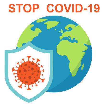Coronavirus, shield protects planet Earth from coronavirus COVID-19. Protect the planet from the coronavirus. Vector illustration. Vector.