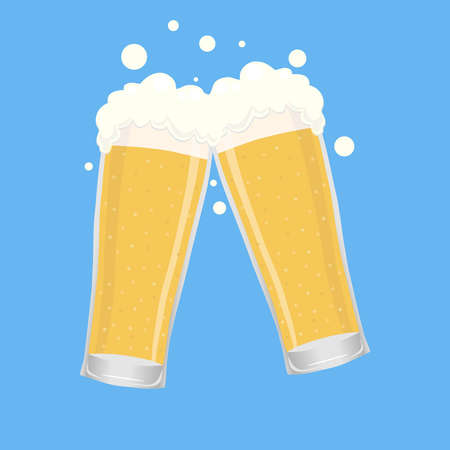 Two beer glasses, two glasses with beer. Vector illustration of a beer glass on a blue background. Vector. Ilustracja