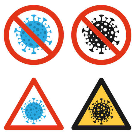 Coronavirus prohibiting the sign of coronavirus COVID-19. Coronavirus icon in blue. Vector illustration. Vector.