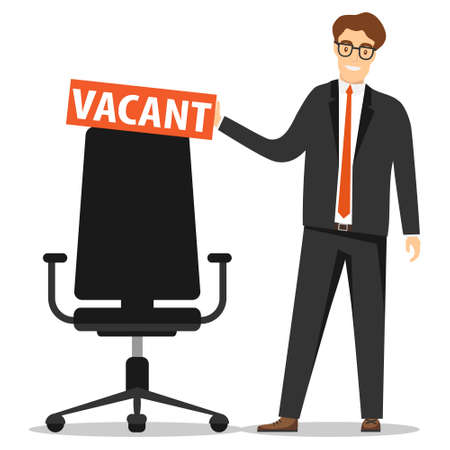 Personnel search, free space, we need you. A man in a business suit is standing near a free office chair. Ilustracja