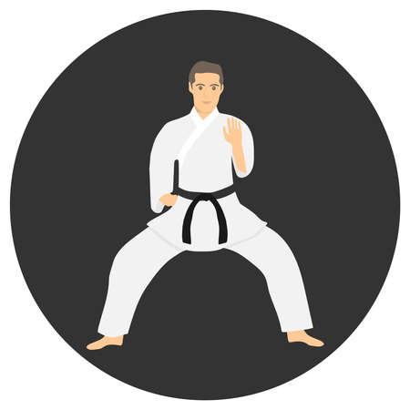Karate. Male karate shows techniques. A man in a white kimono karate isolated on a black background. Vector illustration. Vector. Ilustracja