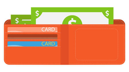 Wallet with money, men's wallet with money and credit cards. Vector illustration. Vector. Ilustracja