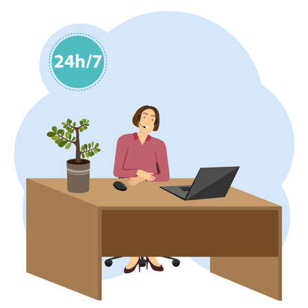 Call center. The call center operator is sitting at the table. Customer support center. Vector illustration. Vector.