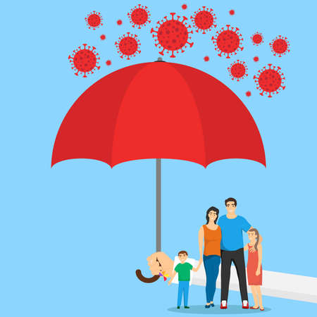 People under the umbrella are protected from the coronavirus COVID-19. A hand with an umbrella protects the family from the coronavirus. Vector illustration. Vector. Ilustracja