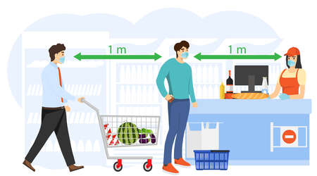 Shoppers are protected from coronavirus. Keeping a safe distance between people. Masked people are protected from coronavirus. Vector illustration. Vector.