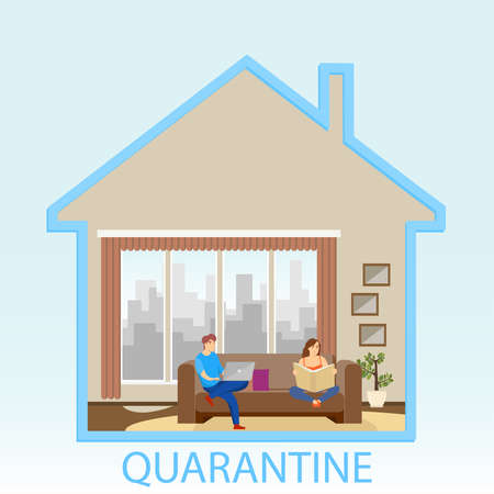 People in quarantine are sitting at home. Stay at home. People in quarantine self-isolation work remotely at home. Vector illustration. Vector.