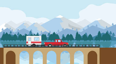 The car rides on the bridge. A pickup truck with a trailer crosses a bridge against a mountain landscape. Vector illustration. Vector.