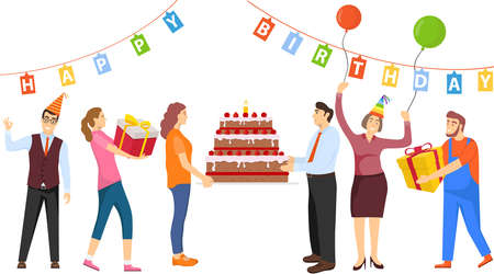 People celebrate and have fun. Happy Birthday. Man and woman are holding a big cake. Vector illustration. Vector. Ilustracja