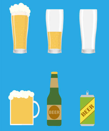 Beer, beer glass, beer bottle isolated on a blue background. Vector illustration. Vector.
