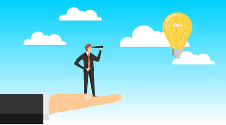 Search for an idea. A man in a business suit with a spyglass looks into the distance in search of an idea. A light bulb with the inscription idea flies in the clouds. Vector illustration. Vector.