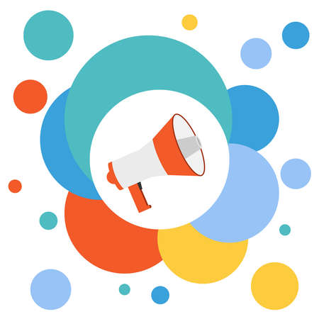 Megaphone, loudspeaker. realistic loudspeaker on the background of multi-colored circles. Vector illustration. Vector.