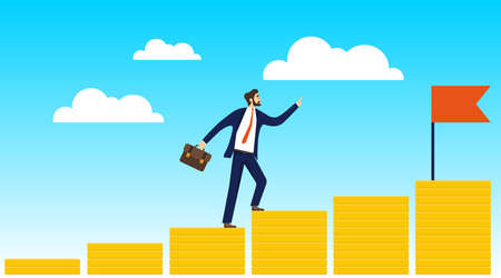 Career ladder. The path to the top. A male businessman climbs the steps of gold coins to the top with a red flag. Vector illustration. Vector.
