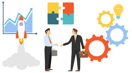 The conclusion of the transaction, the opening of a new business, startup. Two businessmen shake hands. Vector illustration. Vector. Ilustracja