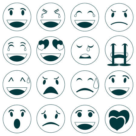 Emoticons. Set of black and white smileys. Set of smileys isolated on a white background. Vector illustration. Vector.