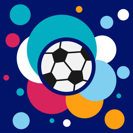Soccer ball banner on a colored background. Football, abstract banner. Vector illustration. Vector.