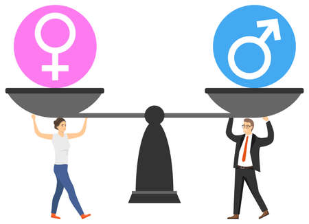 Gender equality. A man and a woman support the balance for balance. Gender balance. Vector illustration. Vector. Ilustracja