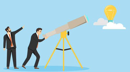 In search of an idea. Men in business suits are looking through a telescope. New idea. Vector illustration. Vector. Ilustracja