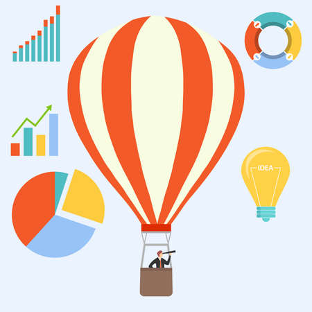 In search of an idea. A man in a business suit with a telescope on a hot air balloon searches for an idea and looks at the profit charts. Vector illustration. Vector.