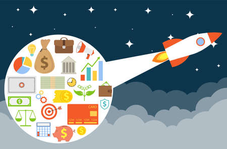 Startup. New business. Rocket pulls investment in the sky. Vector illustration. Vector. Ilustracja