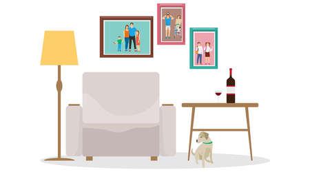 Interior room with armchair, floor lamp, coffee table and a bottle of wine. Vector illustration. Vector. Ilustracja
