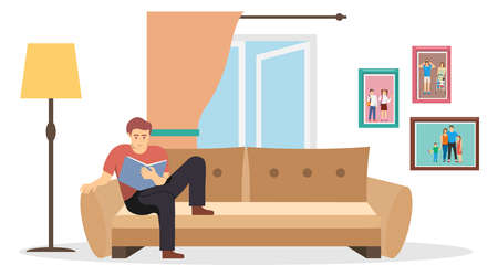 The interior of the room. A man reads a book on the couch in the room against the background of an open window and a wall with family photos. Vector illustration. Vector.