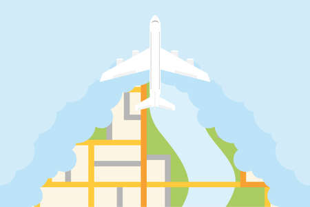 The plane flies in the clouds over the city. Flying airplane in the clouds. Vector illustration. Vector.