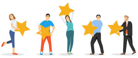 Rating five stars. People hold stars rating. Rating. Vector illustration. Vector.