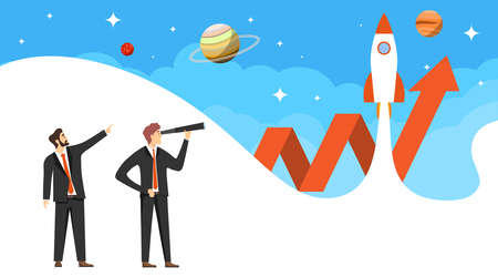In search of an idea. A man in a business suit looks through a telescope in search of an idea. Startup startup. Vector illustration. Vector.