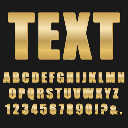 Font. Golden volumetric font on a black background. Vector illustration. Vector.