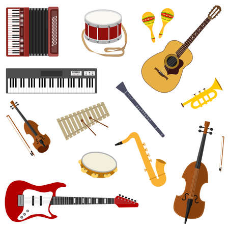 Musical instruments. A large set of musical instruments. Vector illustration. Vector.