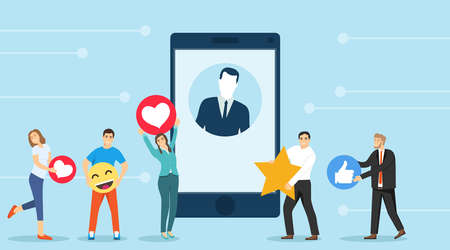 Social networking concept banner. People rate avatars on a smartphone and like. Vector illustration. Vector.