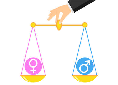 Gender equality. Hand holds scales with a balance of gender equality. Vector illustration. Vector. Ilustracja