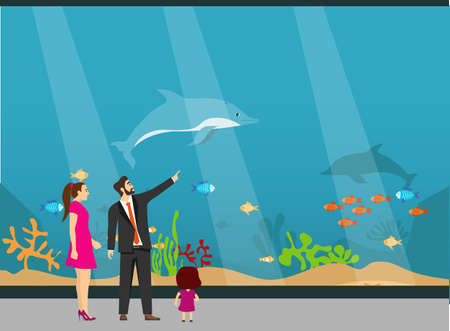 Oceanarium, a young family with children examines fish in the aquarium. The underwater world of the aquarium. Vector illustration. Vector.