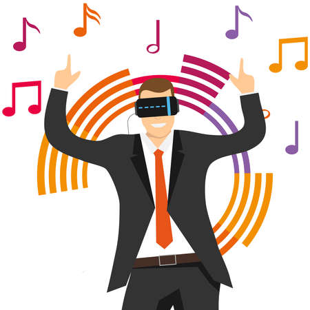The virtual reality. A man in a virtual reality helmet listens to music. Vector illustration. Vector.