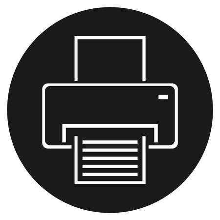 Printer icon. White printer sign on a black circle background. Vector illustration. Vector. Ilustracja