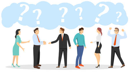 Talking people, people stand and talk among themselves. People are asking questions. Vector illustration. Vector.